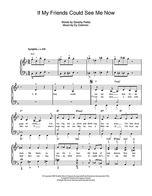 Cy Coleman If My Friends Could See Me Now (from Sweet Charity) sheet music notes and chords. Download Printable PDF.
