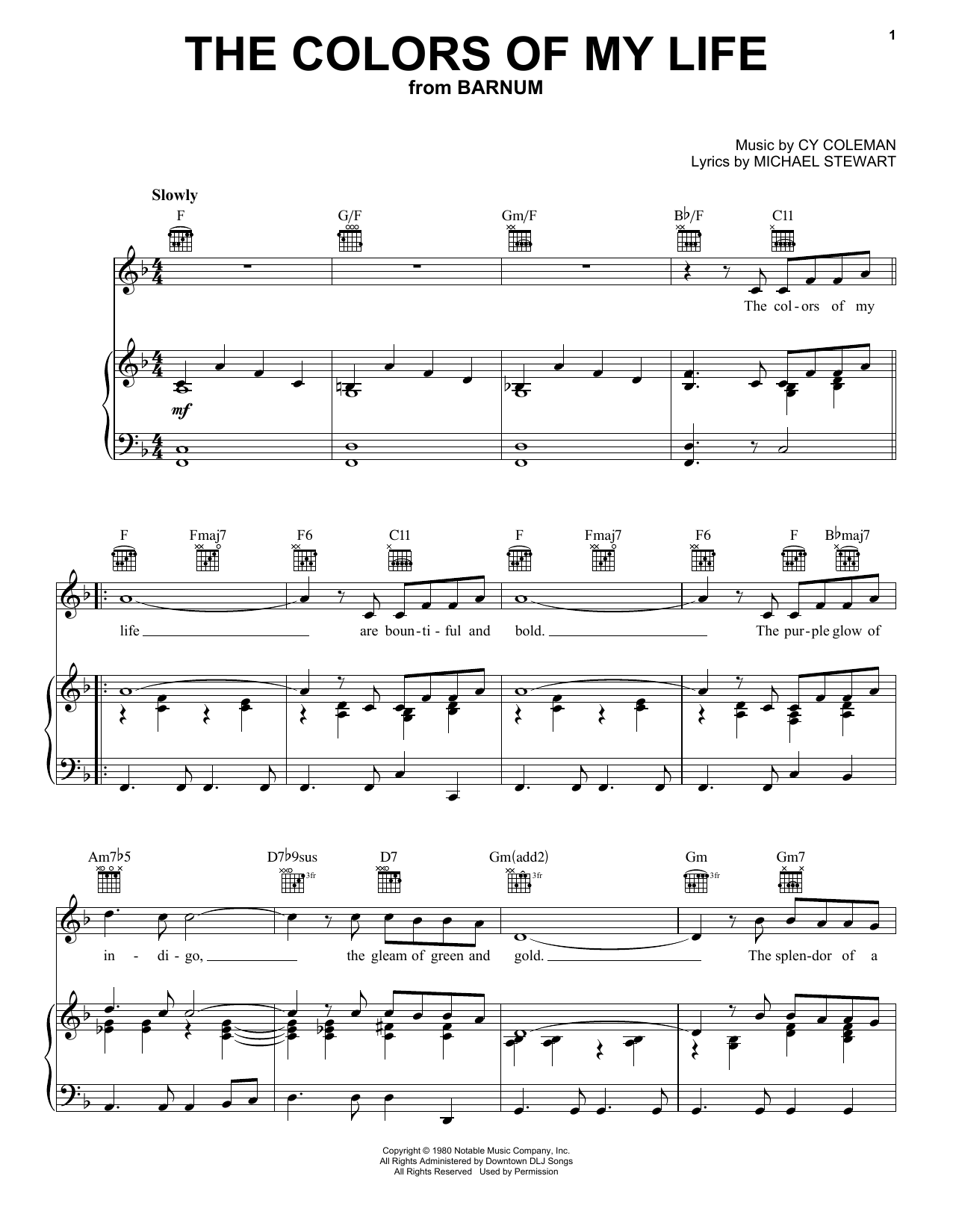 Cy Coleman The Colors Of My Life sheet music notes and chords. Download Printable PDF.