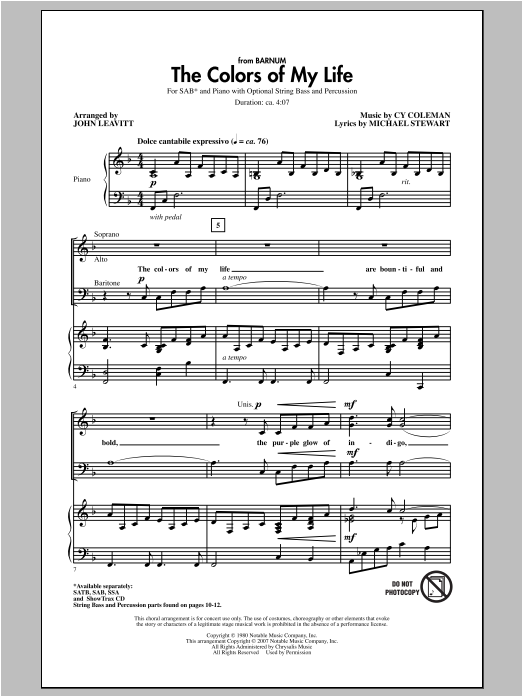 Cy Coleman The Colors Of My Life (arr. John Leavitt) sheet music notes and chords. Download Printable PDF.