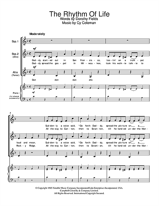 Cy Coleman The Rhythm Of Life sheet music notes and chords. Download Printable PDF.