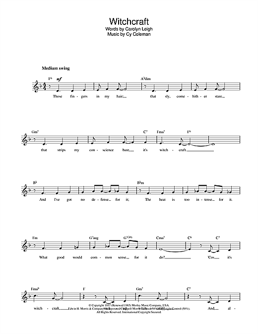 Cy Coleman Witchcraft sheet music notes and chords. Download Printable PDF.