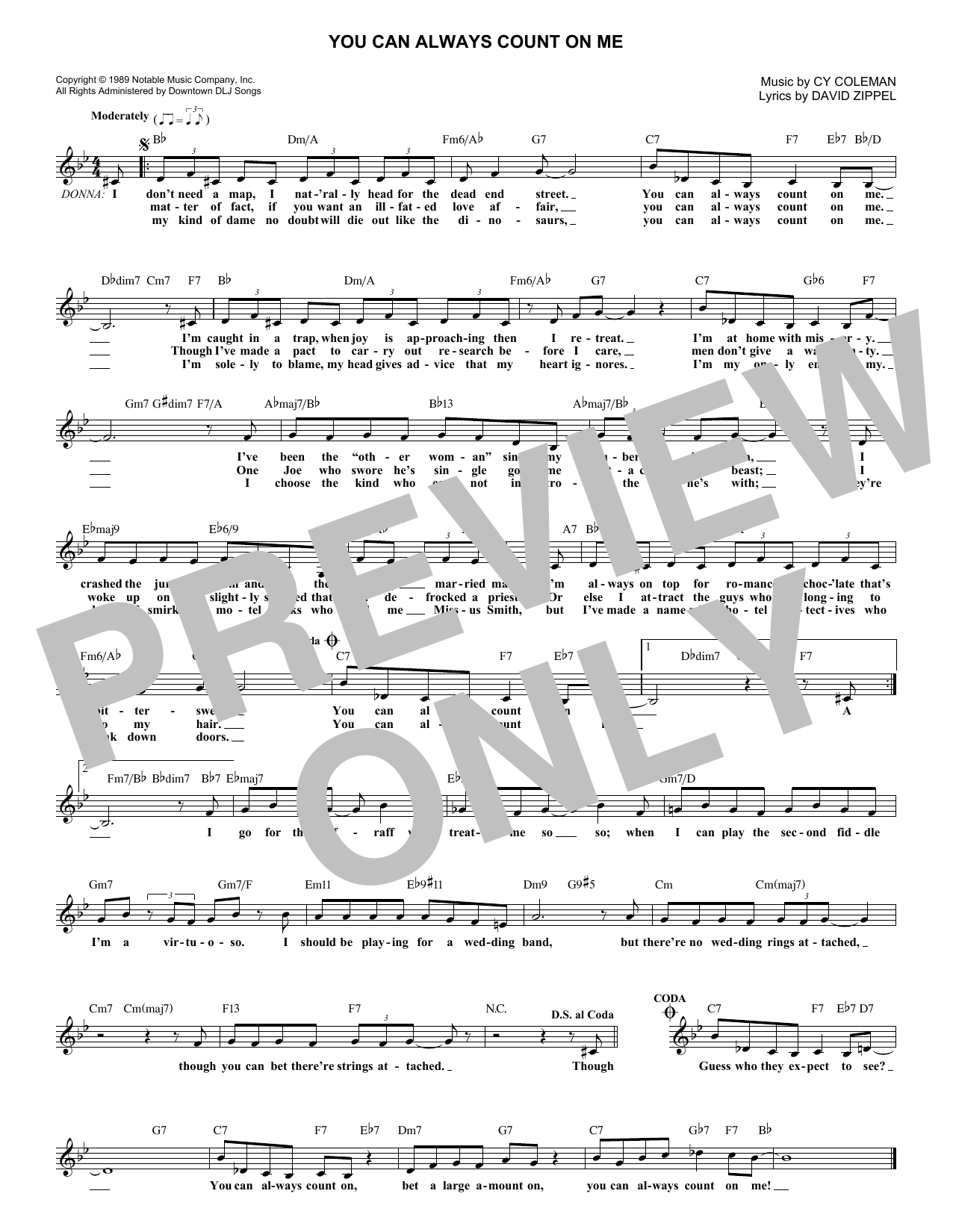Cy Coleman You Can Always Count On Me sheet music notes and chords. Download Printable PDF.