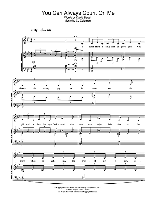 Cy Coleman You Can Always Count On Me (from City Of Angels) sheet music notes and chords. Download Printable PDF.