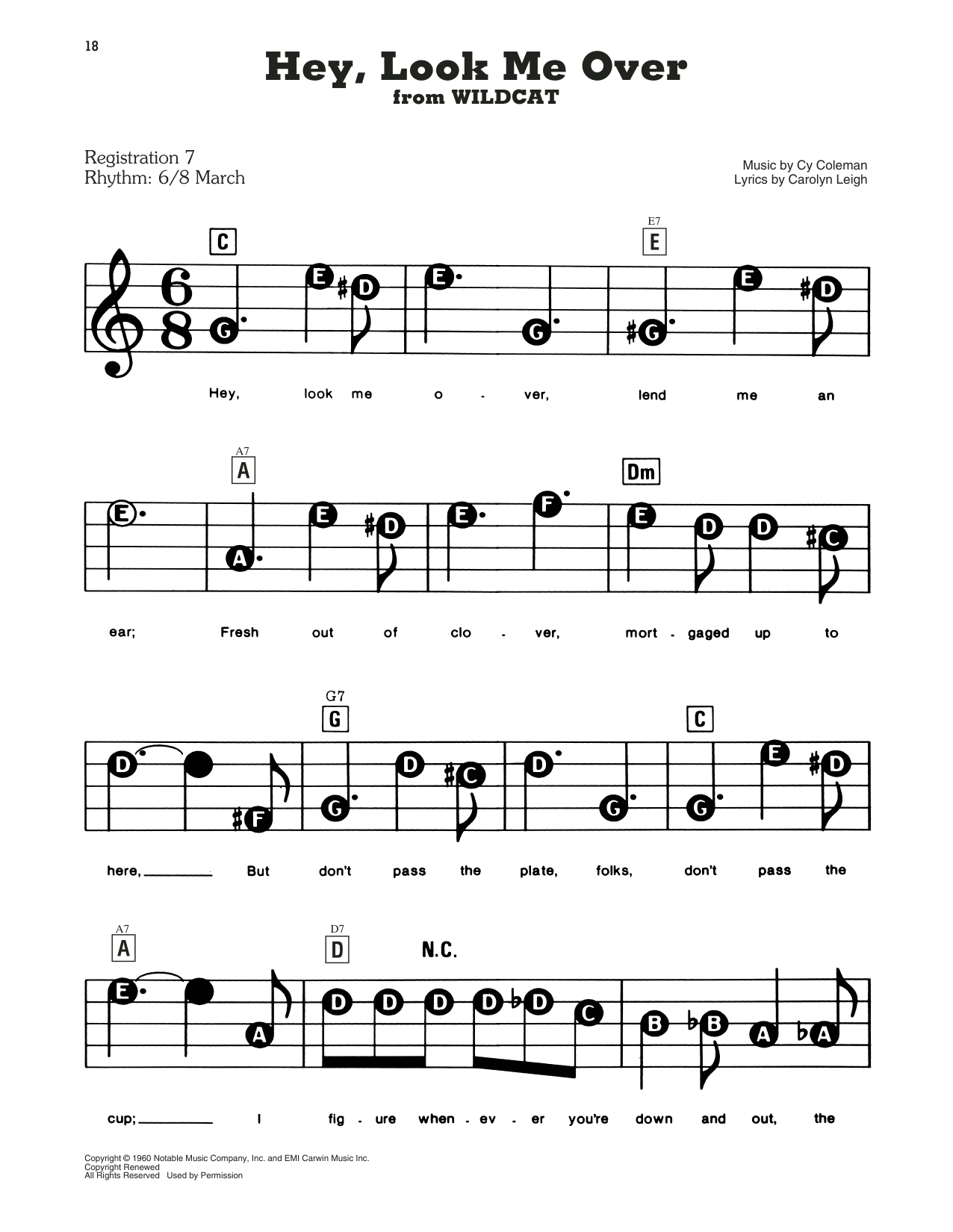 Cy Coleman and Carolyn Leigh Hey, Look Me Over (from Wildcat) sheet music notes and chords. Download Printable PDF.