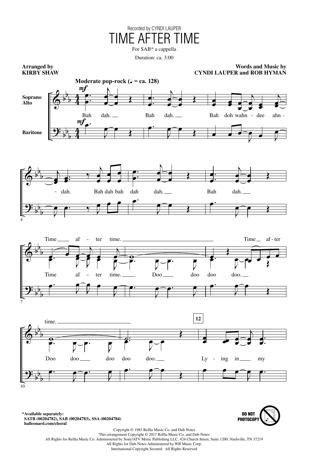 Cyndi Lauper Time After Time (arr. Kirby Shaw) sheet music notes and chords. Download Printable PDF.