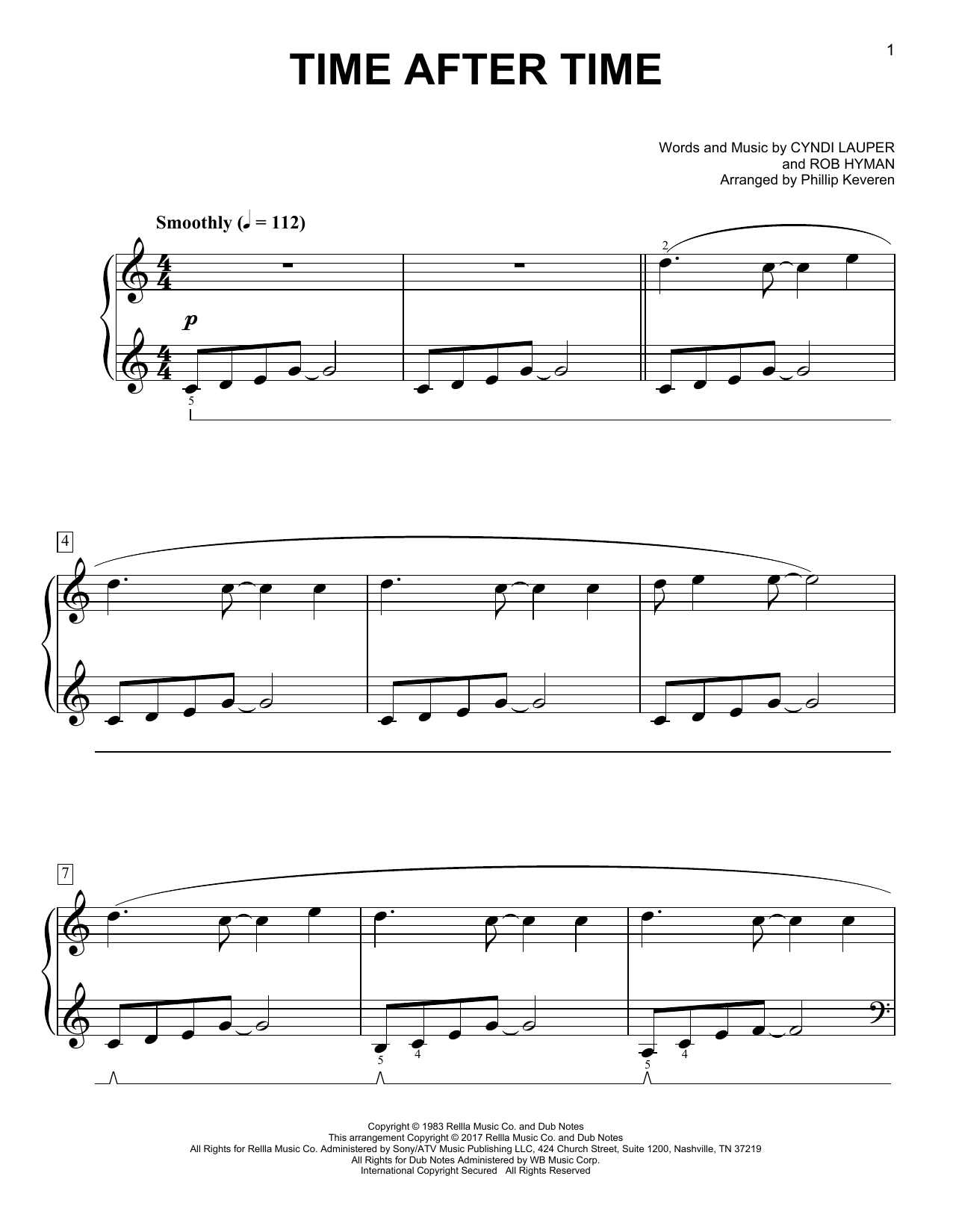 Cyndi Lauper Time After Time [Classical version] (arr. Phillip Keveren) sheet music notes and chords. Download Printable PDF.