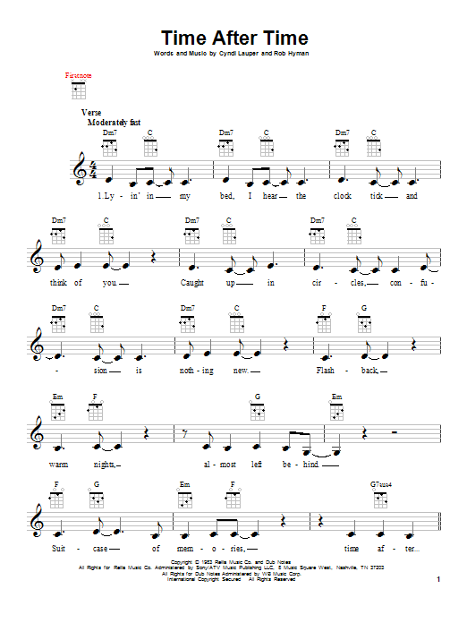 Cyndi Lauper Time After Time (feat. Sarah McLachlan) sheet music notes and chords. Download Printable PDF.