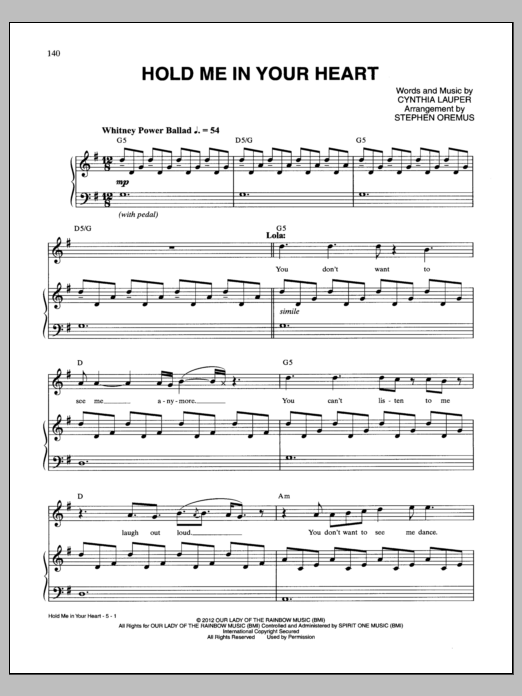 Cynthia Lauper Hold Me In Your Heart sheet music notes and chords. Download Printable PDF.
