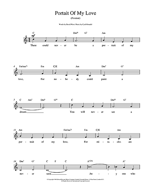 Cyril Ornadel Portrait Of My Love sheet music notes and chords. Download Printable PDF.