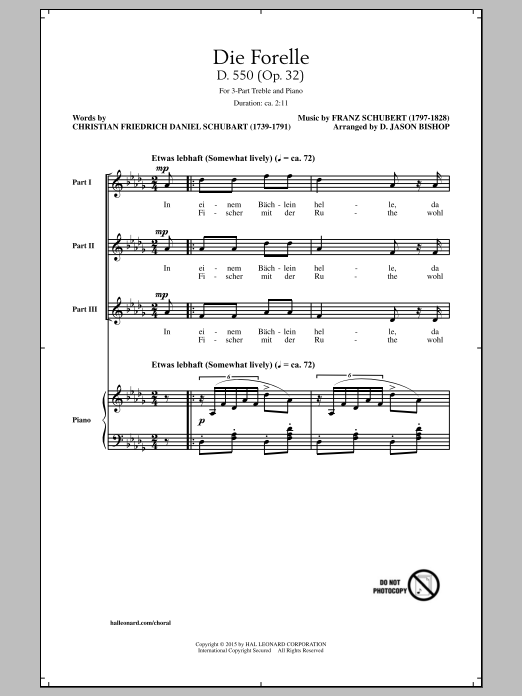 D. Jason Bishop Die Forelle (Schubert) sheet music notes and chords. Download Printable PDF.