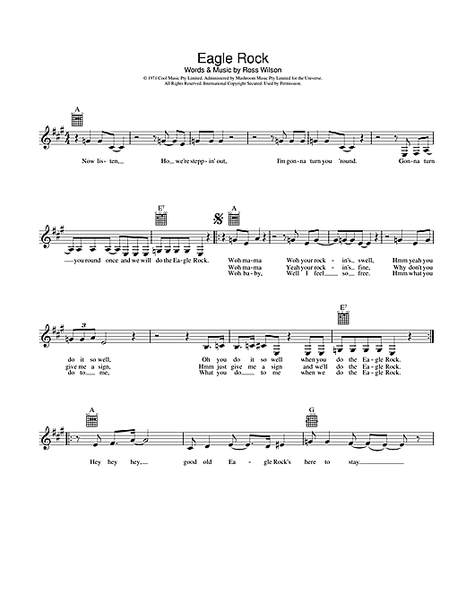 Daddy Cool Eagle Rock sheet music notes and chords. Download Printable PDF.
