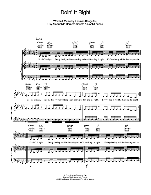 Daft Punk Doin' It Right sheet music notes and chords. Download Printable PDF.