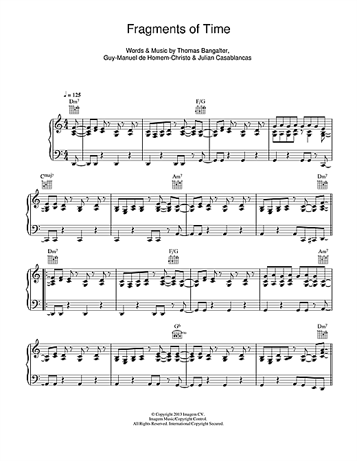 Daft Punk Fragments Of Time sheet music notes and chords. Download Printable PDF.