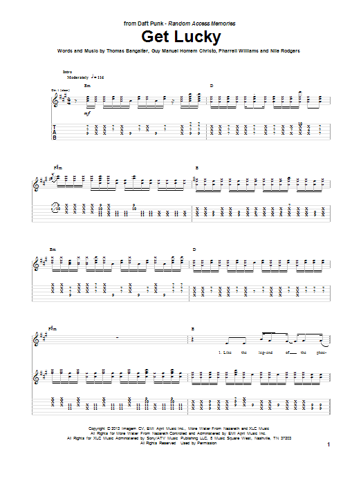 Daft Punk Get Lucky (feat. Pharrell Williams) sheet music notes and chords. Download Printable PDF.