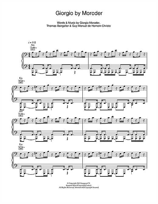 Daft Punk Giorgio By Moroder sheet music notes and chords. Download Printable PDF.
