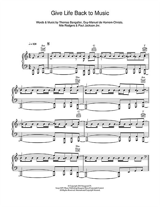 Daft Punk Give Life Back To Music sheet music notes and chords. Download Printable PDF.
