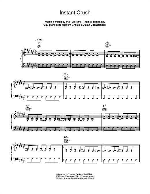 Daft Punk Instant Crush sheet music notes and chords