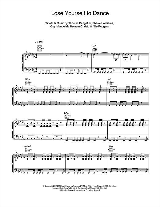 Daft Punk Lose Yourself To Dance sheet music notes and chords. Download Printable PDF.