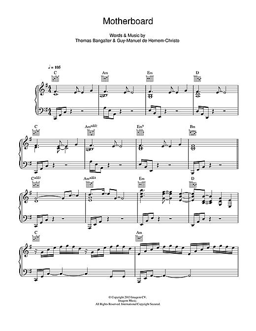 Daft Punk Motherboard sheet music notes and chords
