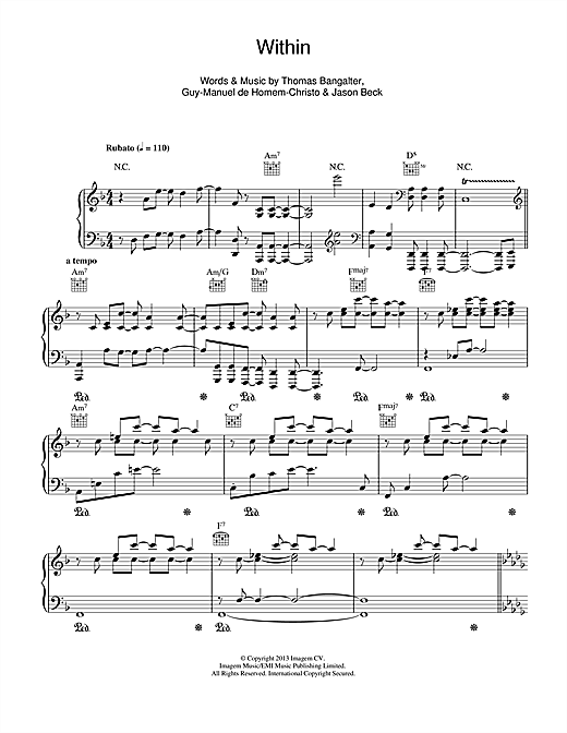 Daft Punk Within sheet music notes and chords. Download Printable PDF.
