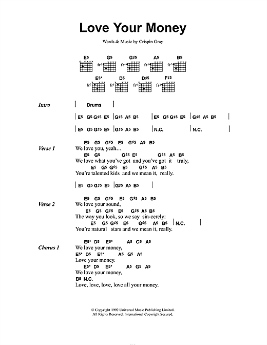 Daisy Chainsaw Love Your Money sheet music notes and chords. Download Printable PDF.