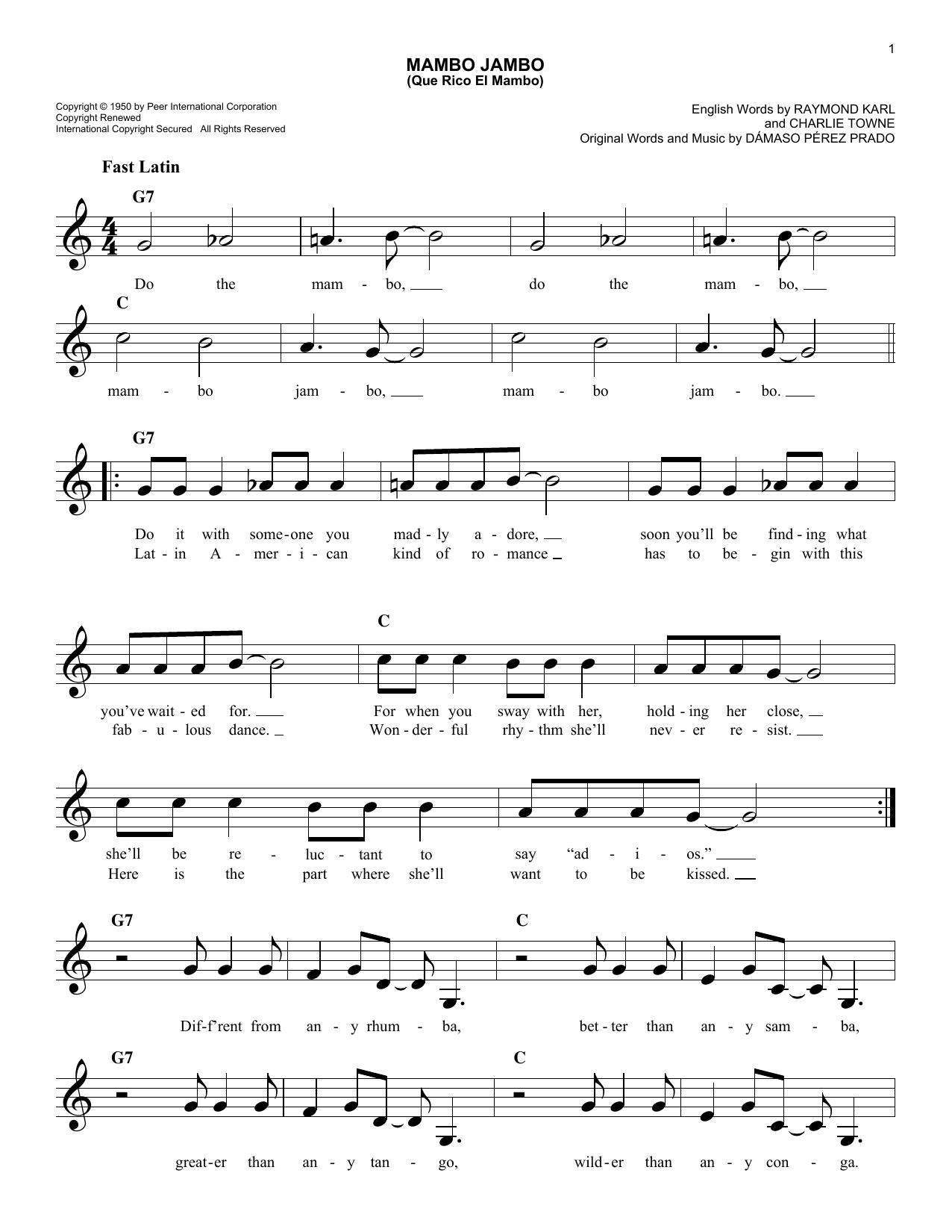 Damaso Perez Prado Mambo Jambo (Que Rico El Mambo) sheet music notes and chords