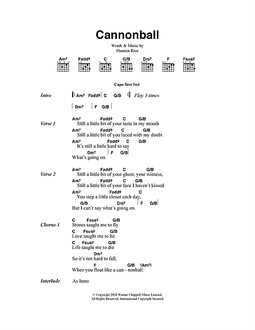 Damien Rice Cannonball sheet music notes and chords