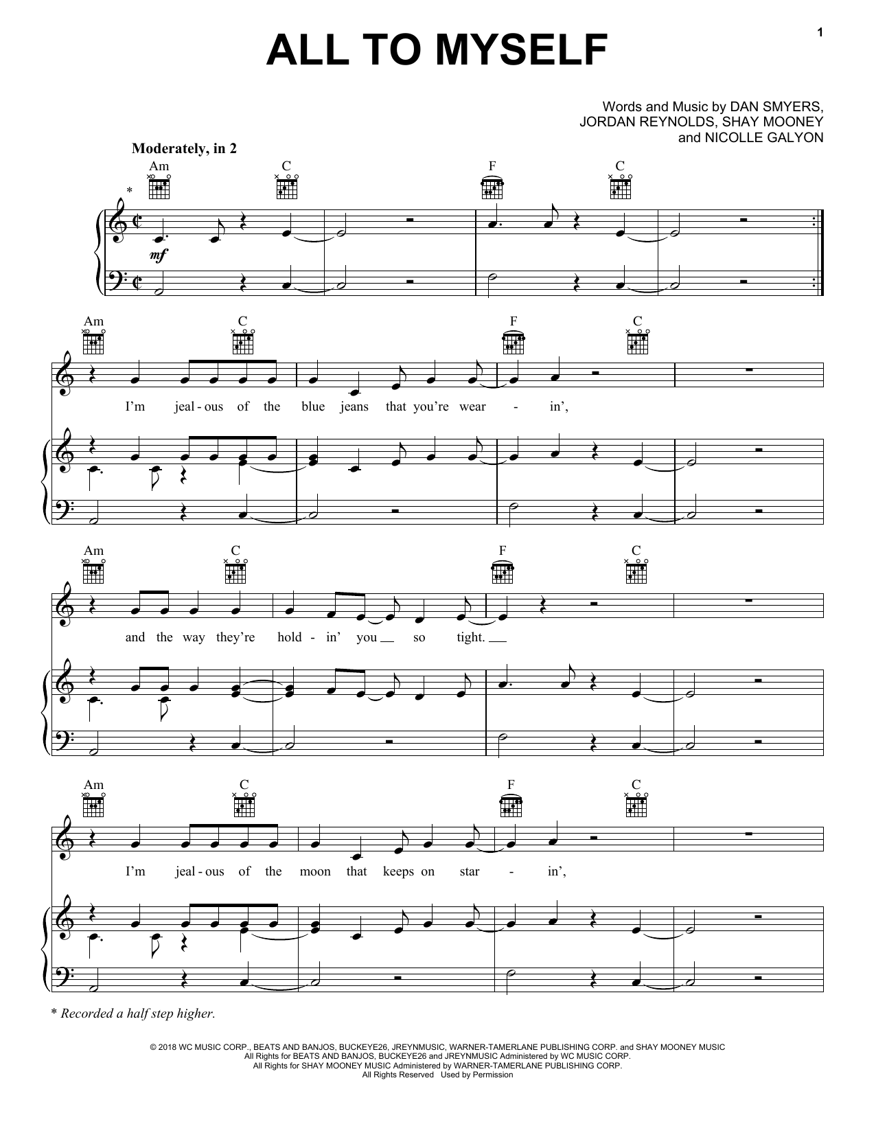 Dan + Shay All To Myself sheet music notes and chords