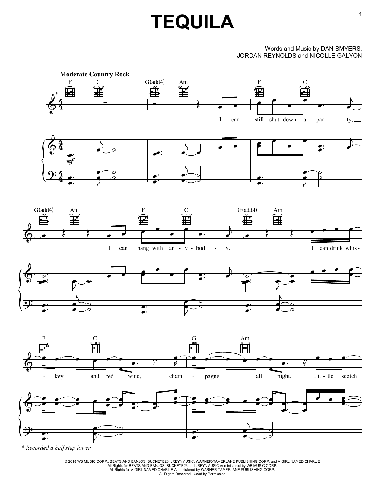 Dan + Shay Tequila sheet music notes and chords
