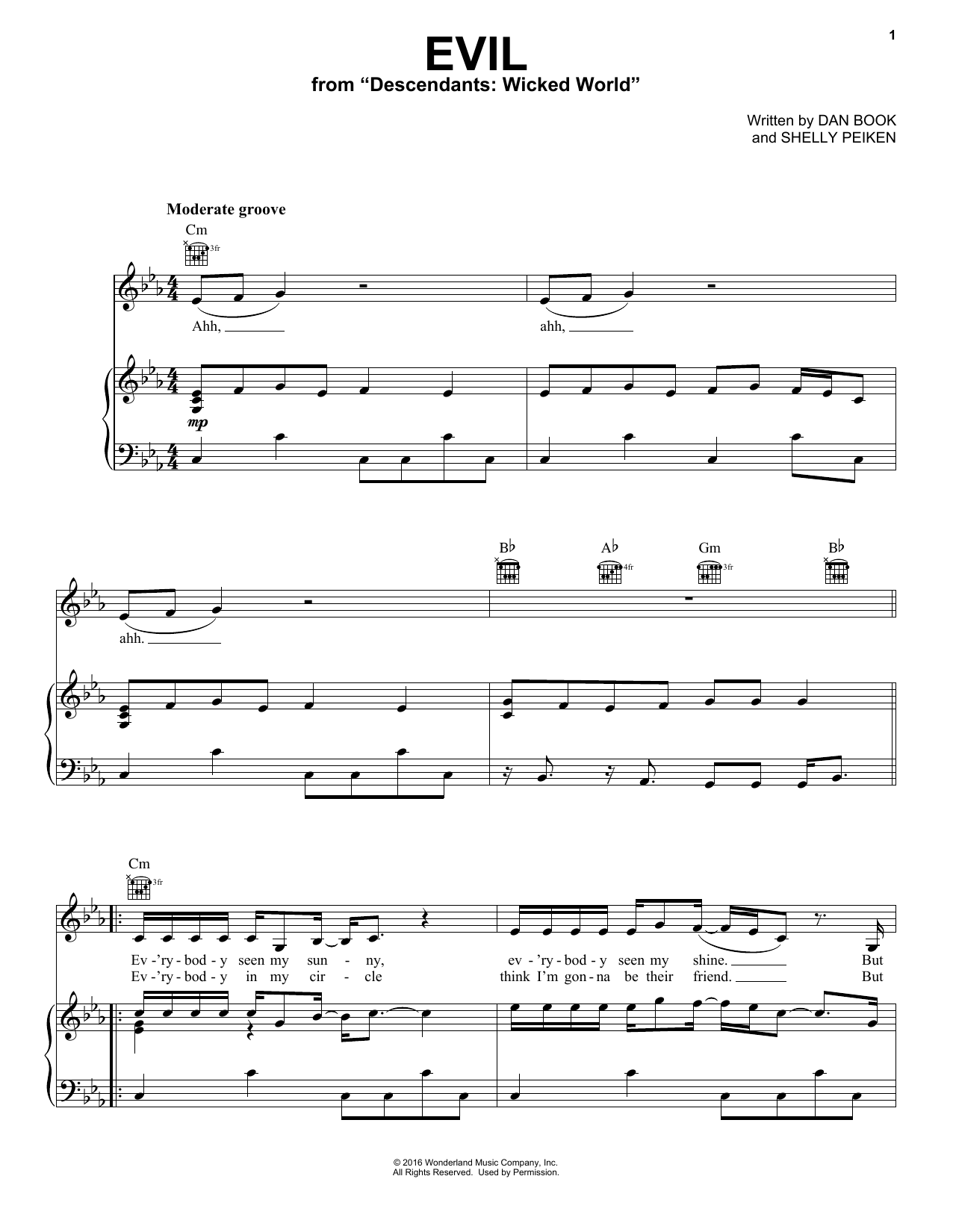 Dan Book Evil (from Disney's Descendants 2) sheet music notes and chords. Download Printable PDF.