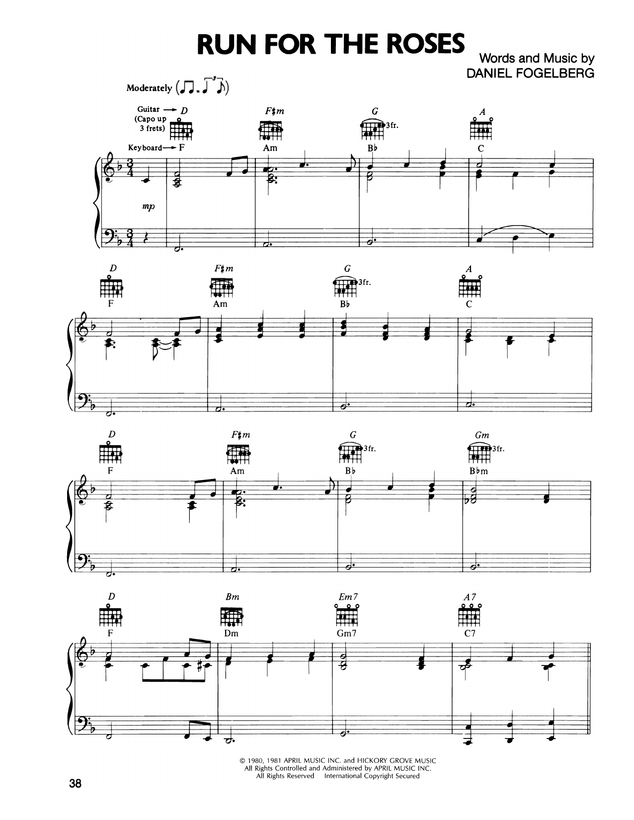 Dan Fogelberg Run For The Roses sheet music notes and chords. Download Printable PDF.