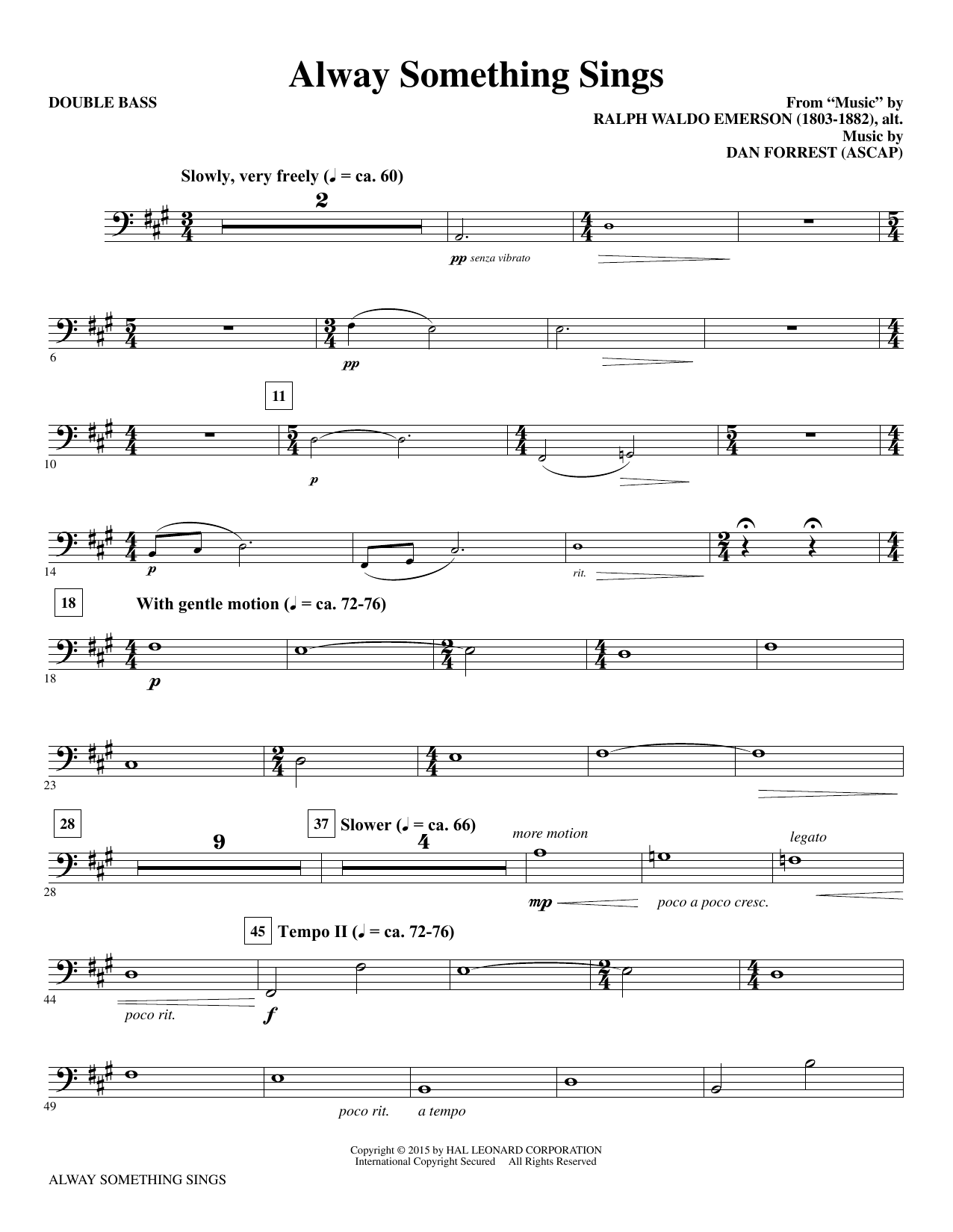 Dan Forrest Alway Something Sings - Double Bass sheet music notes and chords. Download Printable PDF.