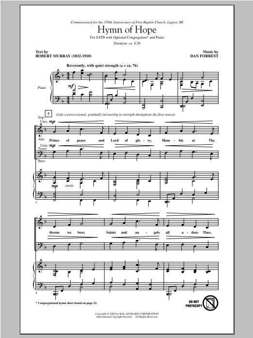 Dan Forrest Hymn Of Hope sheet music notes and chords. Download Printable PDF.
