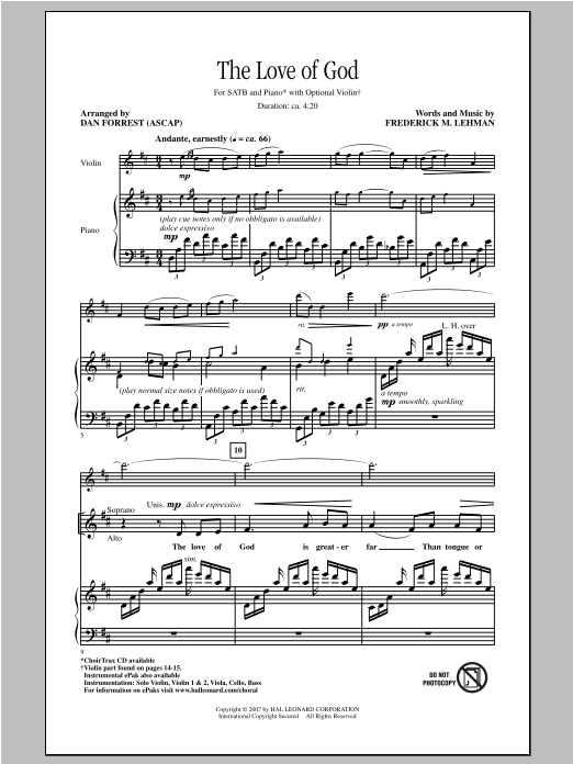 Dan Forrest The Love Of God sheet music notes and chords. Download Printable PDF.