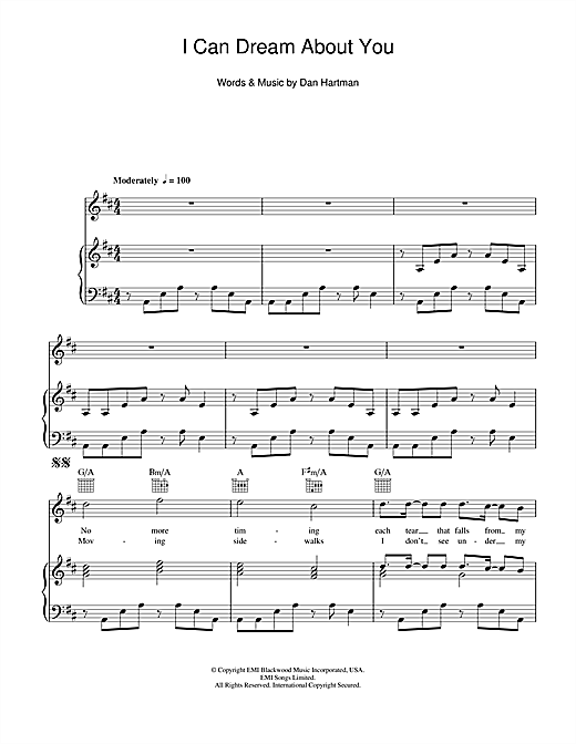Dan Hartman I Can Dream About You sheet music notes and chords. Download Printable PDF.