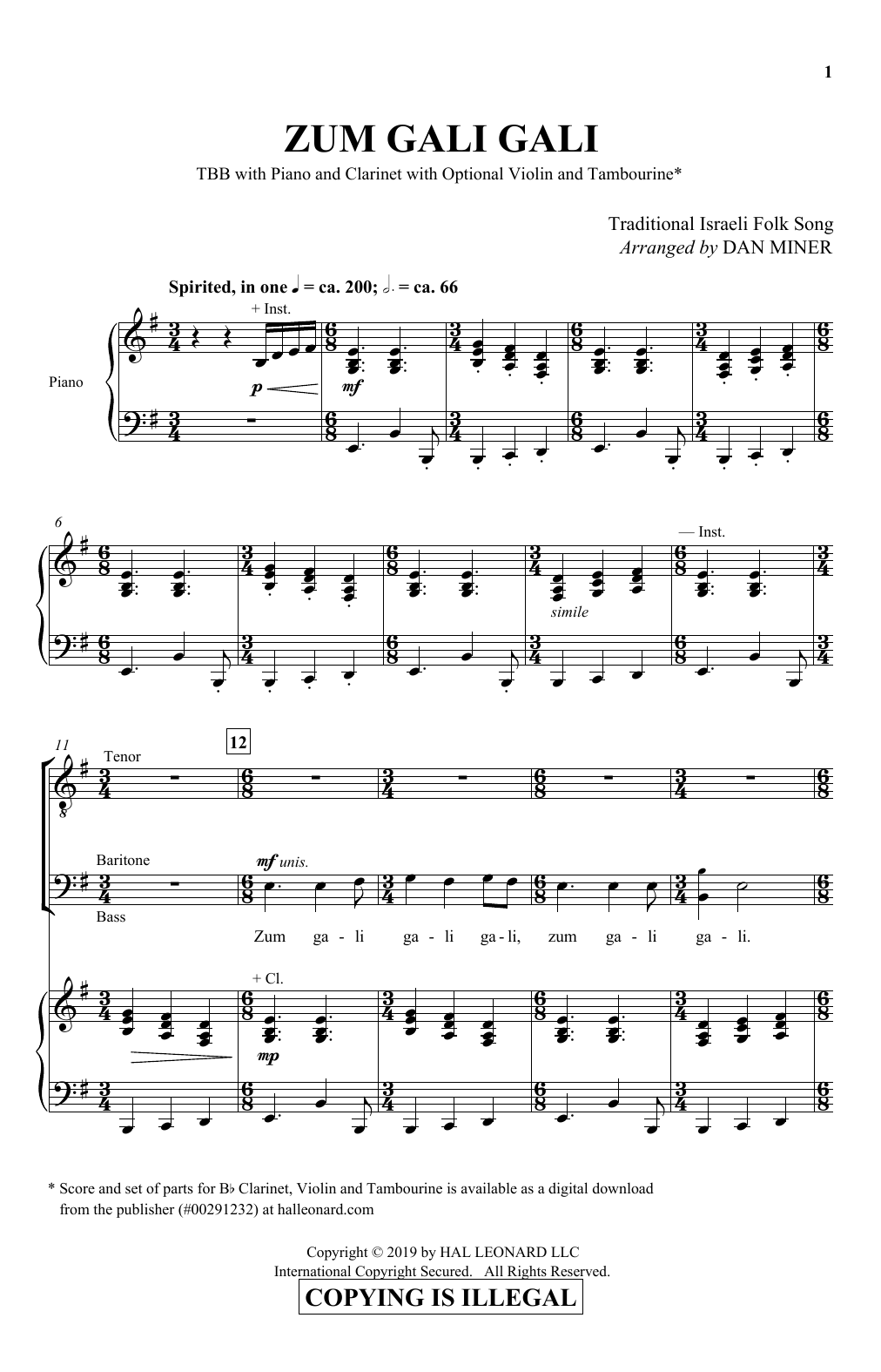 Dan Miner Zum Gali Gali sheet music notes and chords. Download Printable PDF.