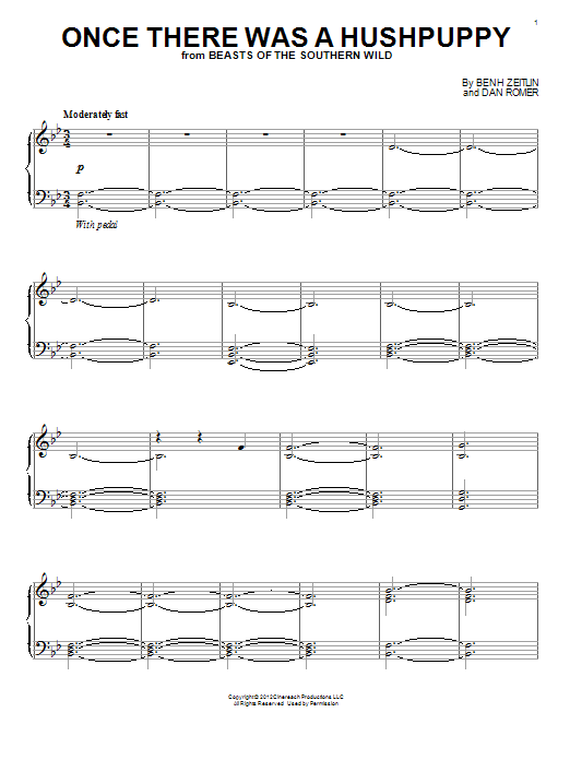 Dan Romer Once There Was A Hushpuppy sheet music notes and chords. Download Printable PDF.