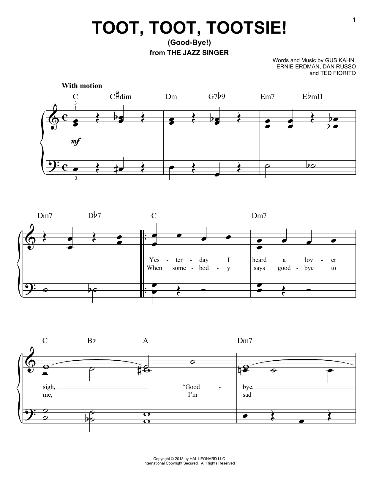 Dan Russo Toot, Toot, Tootsie! (Good-bye!) sheet music notes and chords
