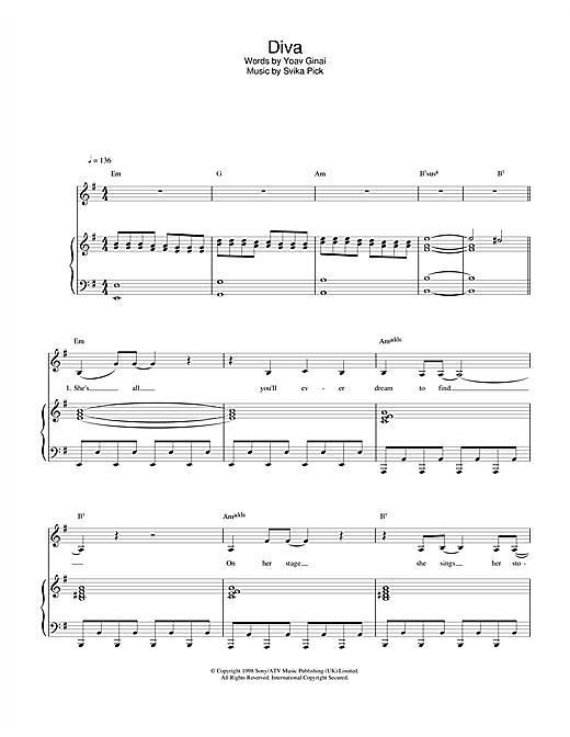 Dana International Diva sheet music notes and chords