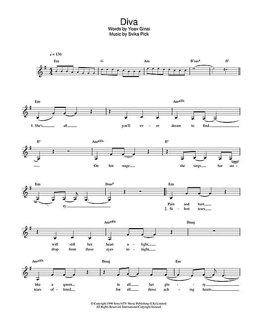 Dana International Diva sheet music notes and chords. Download Printable PDF.