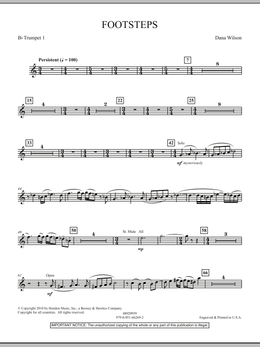Dana Wilson Footsteps - Bb Trumpet 1 sheet music notes and chords. Download Printable PDF.