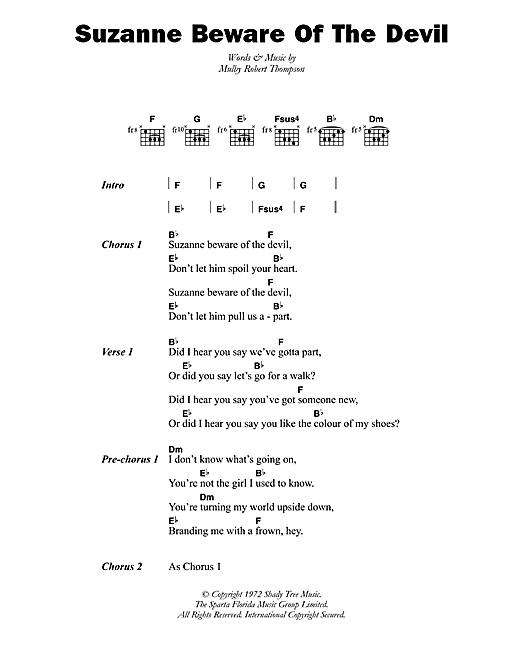 Dandy Livingstone Suzanne Beware Of The Devil sheet music notes and chords. Download Printable PDF.