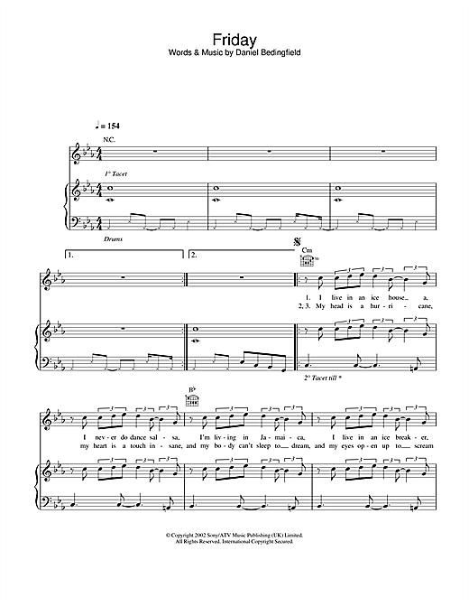 Daniel Bedingfield Friday sheet music notes and chords