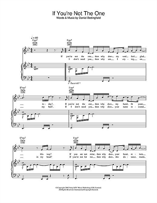 Daniel Bedingfield If You're Not The One sheet music notes and chords. Download Printable PDF.