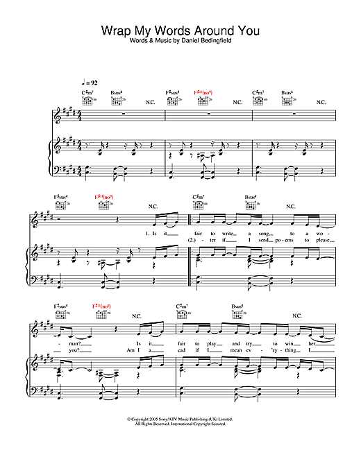 Daniel Bedingfield Wrap My Words Around You sheet music notes and chords. Download Printable PDF.