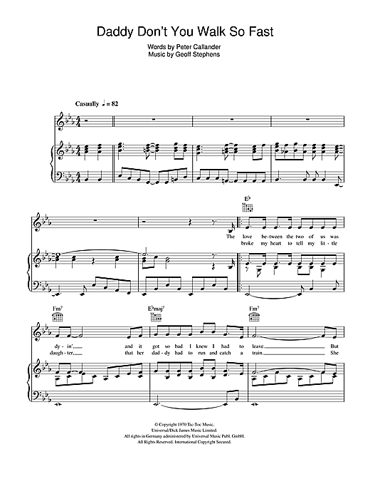 Daniel Boone Daddy Don't You Walk So Fast sheet music notes and chords. Download Printable PDF.