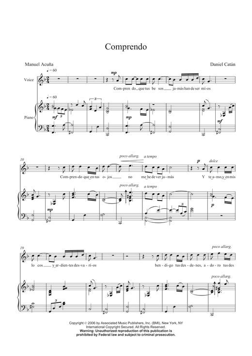 Daniel Catán Comprendo sheet music notes and chords