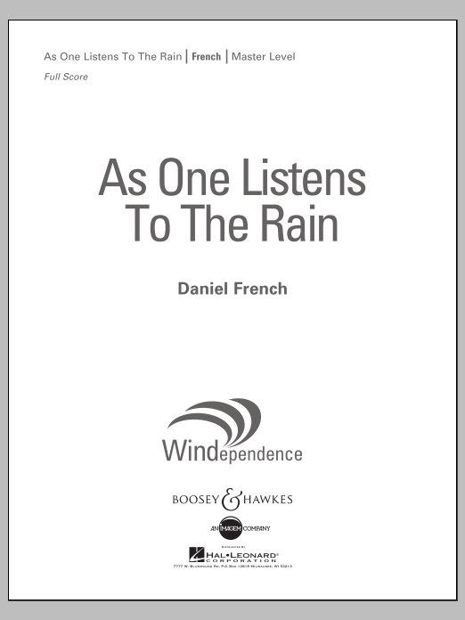 Daniel French As One Listens to the Rain - Conductor Score (Full Score) sheet music notes and chords. Download Printable PDF.