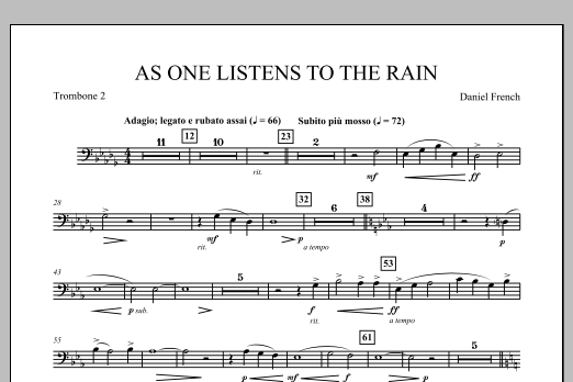 Daniel French As One Listens to the Rain - Trombone 2 sheet music notes and chords. Download Printable PDF.
