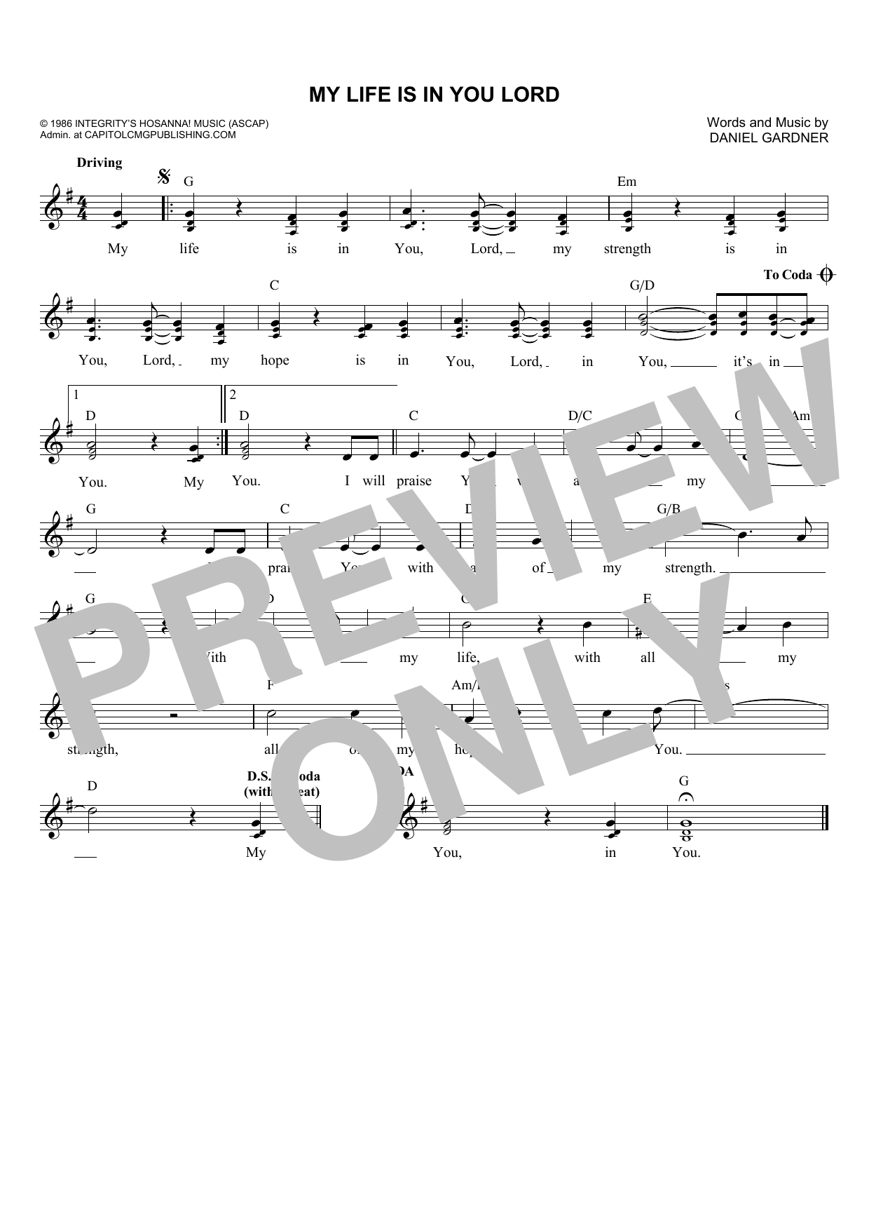 Daniel Gardner My Life Is In You Lord sheet music notes and chords. Download Printable PDF.